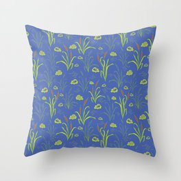 Bright Blue Pond Water With Bullrushes Throw Pillow