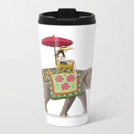 Woman on Elephant Metal Travel Mug