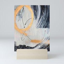 Midnight Time Lapse: a minimal, abstract mixed-media piece by Alyssa Hamilton Art in Gold, Black Mini Art Print
