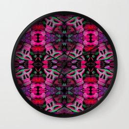 pink skulls Wall Clock