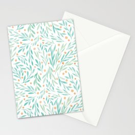 Leaves and Berries #2 | Green and Orange Palette Stationery Cards