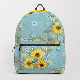 Beautiful Blue & Yellow Sunflowers Backpack