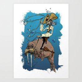 Cowboy Rides the Horse-Whale Art Print