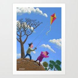 Children on hill flying kite  Art Print