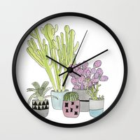 cactus Wall Clocks featuring Cactus by Olivia James