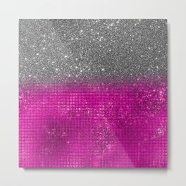 Sparkly Hot Pink & Silver Glitter Gradient Metal Print