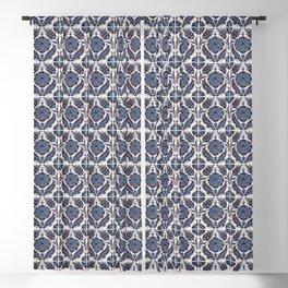 Vintage blue ceramic tiles wall decoration Blackout Curtain
