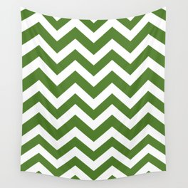 Sap green - green color - Zigzag Chevron Pattern Wall Tapestry