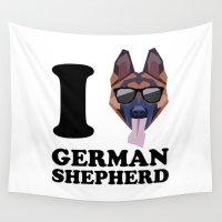 german shepherd Wall Tapestries featuring I Love German Shepherd modern v1 by Vehicle