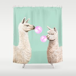 Llama and Alpaca Bubblegum Gang Shower Curtain