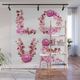 L-O-V-E in Pink Flowers Wall Mural
