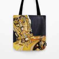 c3po Tote Bags featuring C3PO by Laura-A