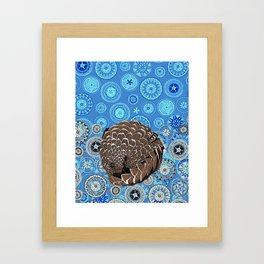 pangolin mandala blue Framed Art Print