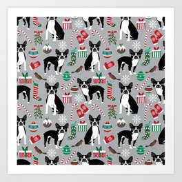 Boston Terrier christmas holiday pattern design dog breed gifts pet friendly home decor Art Print