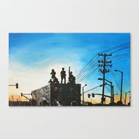 oakland Canvas Prints featuring Occupy Oakland! by Rebecca Sandford-Smith