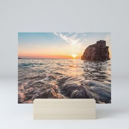 Seascape sunset view on the. Surface of water Mini Art Print