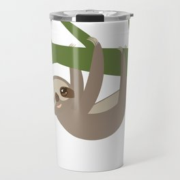 Three-toed sloth on green branch Travel Mug