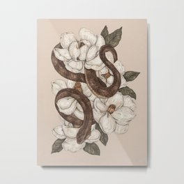 Snake and Magnolias Metal Print