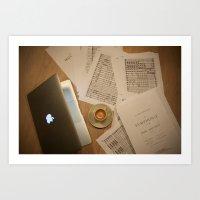 MacBook & Music (& Coffee) Art Print