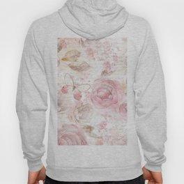 Vintage pastel pink brown butterfly floral typography Hoody