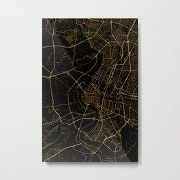 Black and gold Bangkok map Metal Print