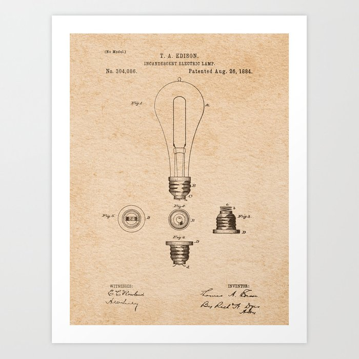EDISON PATENTS / 01 - Incandescent Electric Lamp Art Print