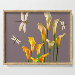 GOLD CALLA LILIES & DRAGONFLIES ON GREY Serving Tray