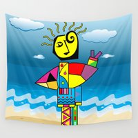 surfer Wall Tapestries featuring Surfer by Moisés Ferreira