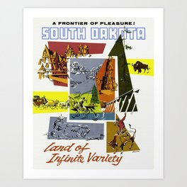 Vintage South Dakota Travel Art Print
