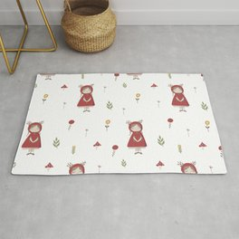 Little Red Riding Hood Girl with Antlers Rug