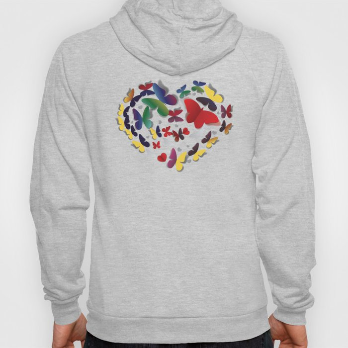 Colorful Heart of paper butterflies Hoody