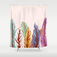 feathers Shower Curtains featuring Feathers by melcsee