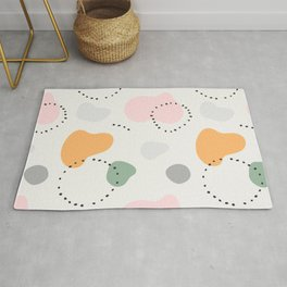 Contemporary modern ethnic abstract art background. Colorful circles and stamp spots with dots, Mili Rug