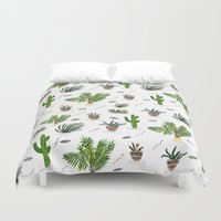 nemo Duvet Covers featuring PLANTS ARE MY FRIENDS by Kris Tate
