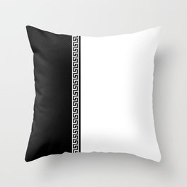 Greek Key 2 - White and Black Throw Pillow
