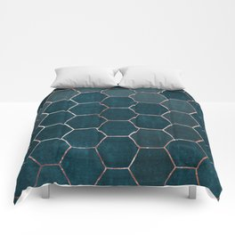 honeycomb pattern // rosegold & teal Comforters
