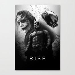Gotham Knight Trilogy (painting) B&W Canvas Print
