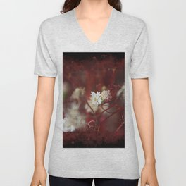 Digital Art Pincushion Wildflowers Blood Red on Black Unisex V-Neck