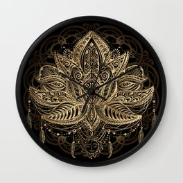 Lotus Black & Gold Wall Clock