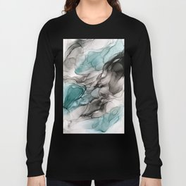 Smoky Grays and Green Abstract Flow Long Sleeve T-shirt