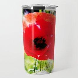 Wild Red Corn Poppies Travel Mug