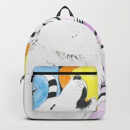 Wolf Spirit Howl Tribal Moon Ink Art Backpack