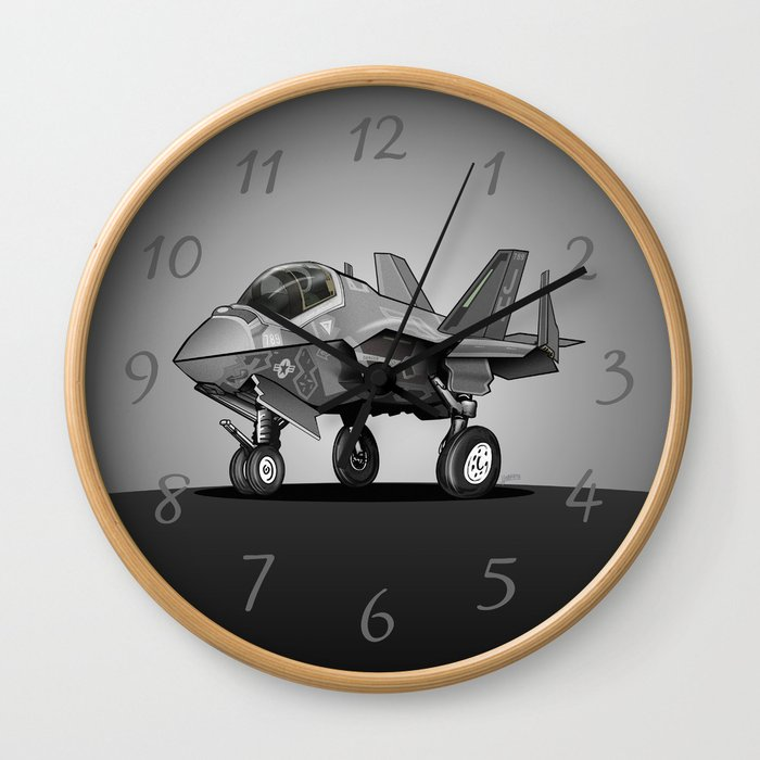 F35 Fighter Jet Airplane - F-35C Lightning II Joint Strike Fighter Cartoon Wall Clock