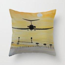 Yellow last flight Throw Pillow
