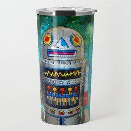 Vintage, retro toy metal robot in galaxy Travel Mug