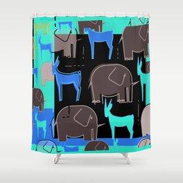 Tribal Drawings Of African Elephants & Gazelles Pattern Shower Curtain