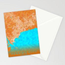 Panama City, Panama, Gold, Blue, City, Map Stationery Cards