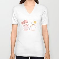 breakfast V-neck T-shirts featuring breakfast by gotoup