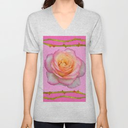 ROSE & RAMBLING THORNY CANES PINK BORDER PATTERNS Unisex V-Neck