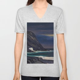 Classical Masterpiece Brewing Storm, Monhegan Island, Maine by Rockwell Kent Unisex V-Neck